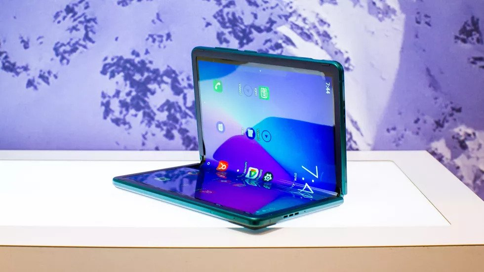 TCL's new foldable smartphone in sit-up position.