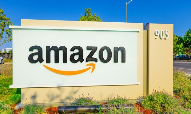 Sign of Amazon outside its Sunnyvale, California Office.