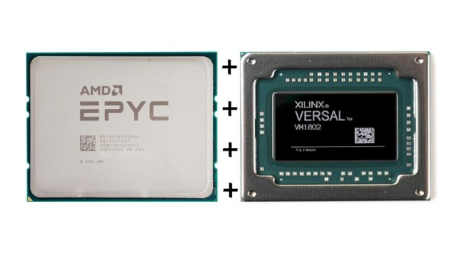 AMD's EPYC chip beside Xilinx's VERSAL chip.